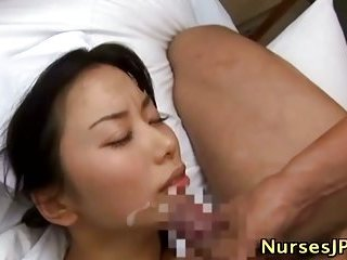 Japanese sexy nurse patient fuck and facial scene 3