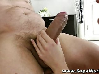 Gaping anal orifice filled with cock