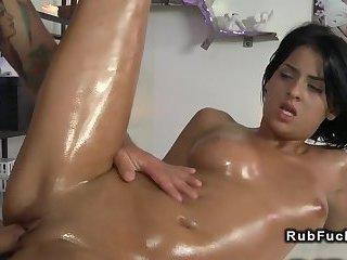 Perfect ass brunette gets massage and fuck