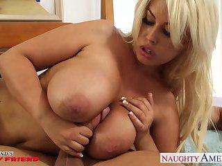 Busty blonde gf Bridgette B gets tits fucked