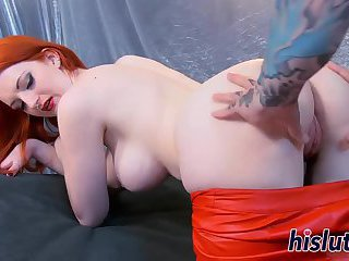 Busty redhead has her tight cunt penetrated