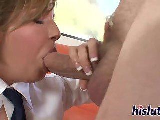 Kinky schoolgirl gets cum on her face